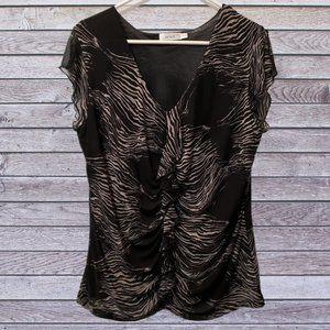🦋3/$30 Black Tan Ruffle Front Sheer Sleeve Top